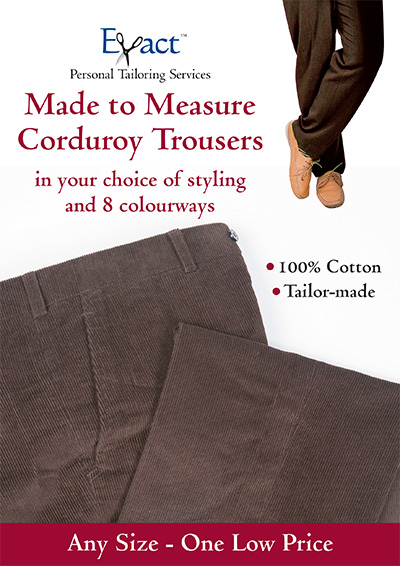 Made to Measure Coduroy Trousers in your choice of styling and 8 colourways