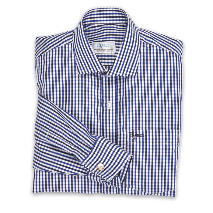 Buy tailor made shirts online - Executive Club - Toning Navy & Blue Check